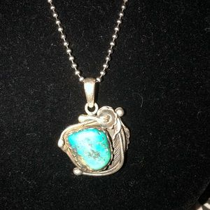 Native American turquoise chunk silver necklace